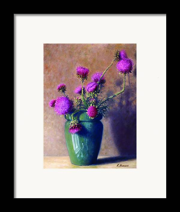 Still Life Framed Print featuring the painting Thistles by Rick Hansen