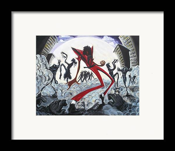 Thriller Framed Print featuring the painting Thriller V2 by Tu-Kwon Thomas