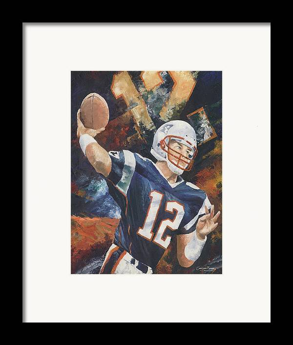 Football Framed Print featuring the painting Tom Brady by Christiaan Bekker