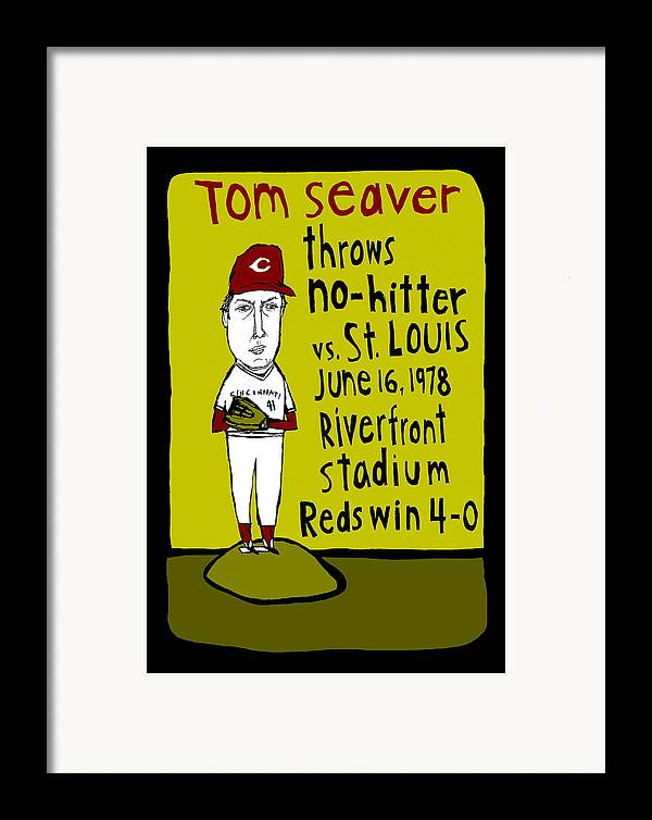 Tom Seaver Framed Print featuring the painting Tom Seaver Cincinnati Reds by Jay Perkins