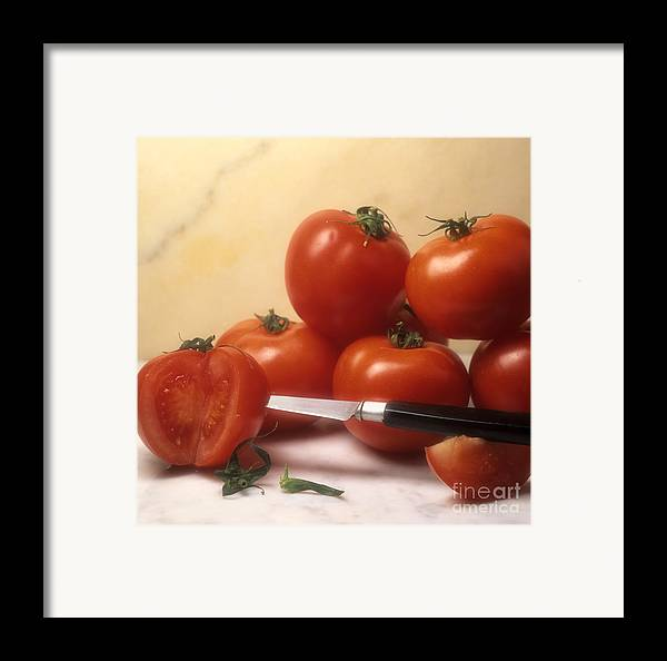 Cut Food Indoors Indoor Inside Knife Knives Nobody Nutrition Sharp Sliced Solanum Lycopersicum Framed Print featuring the photograph Tomatoes And A Knife by Bernard Jaubert