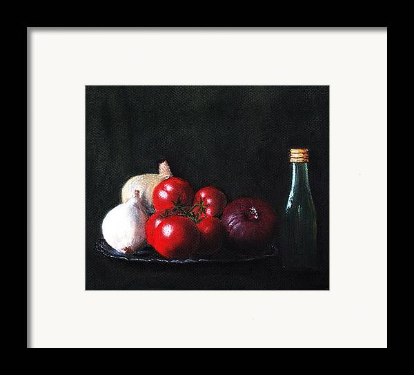 Dish Framed Print featuring the painting Tomatoes And Onions by Anastasiya Malakhova
