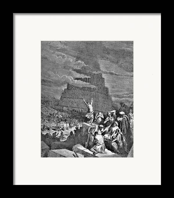 Tower Of Babel Framed Print featuring the drawing Tower Of Babel Bible Illustration by