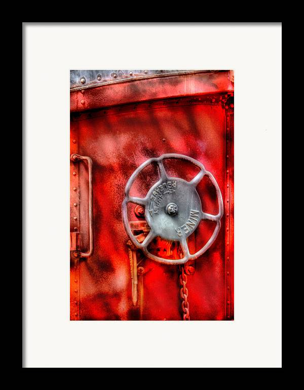 Savad Framed Print featuring the photograph Train - Car - The Wheel by Mike Savad