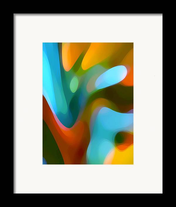 Abstract Framed Print featuring the painting Tree Light 3 by Amy Vangsgard