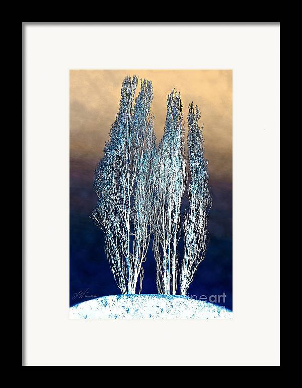 Tree Art Framed Print featuring the painting Trees In Snow by Artist and Photographer Laura Wrede