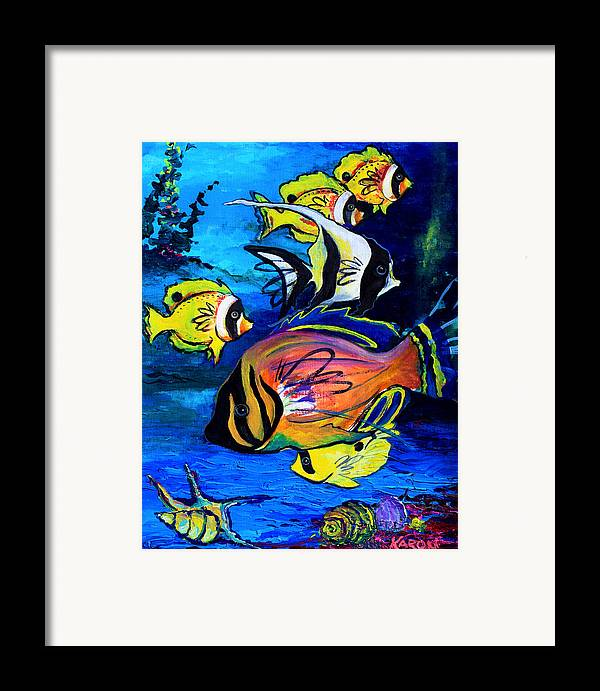 Tropical Art Framed Print featuring the painting Tropical Fish by Karon Melillo DeVega