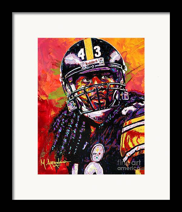 Troy Framed Print featuring the painting Troy Polamalu by Maria Arango