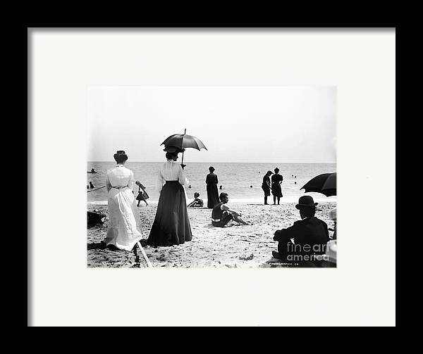 Black And White Framed Print featuring the photograph Turn Of The Century Palm Beach by LOC Science Source