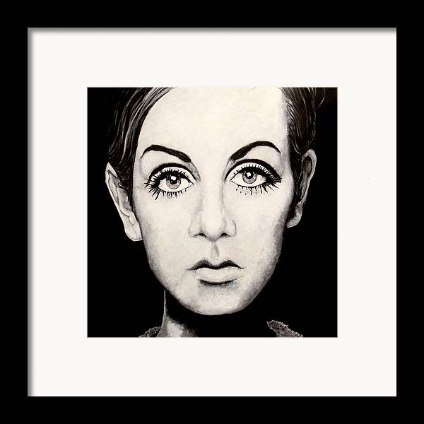 Twiggy Painting Acrylic On Canvass.homage To Photographer Barry Lategan Approx 4x4 Original Artwork. Framed Print featuring the painting Twiggy by Austin Angelozzi