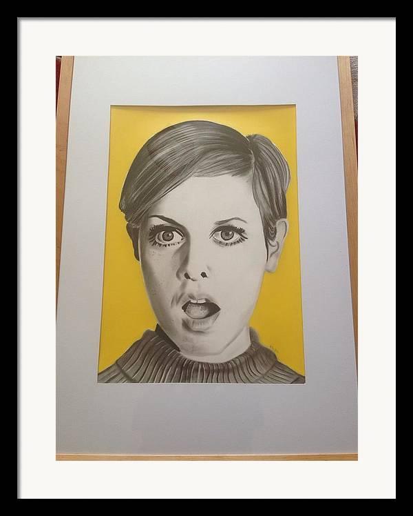 Twiggy Framed Print featuring the drawing Twiggy by Martin Burton