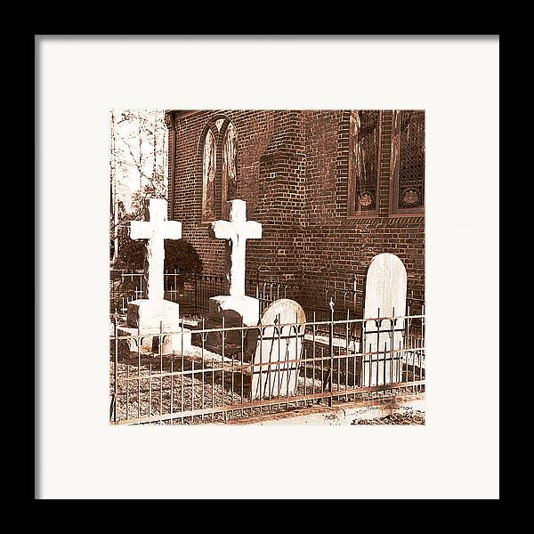Saint Lukes Church Framed Print featuring the photograph Two Crosses In Saint Lukes by Artist and Photographer Laura Wrede