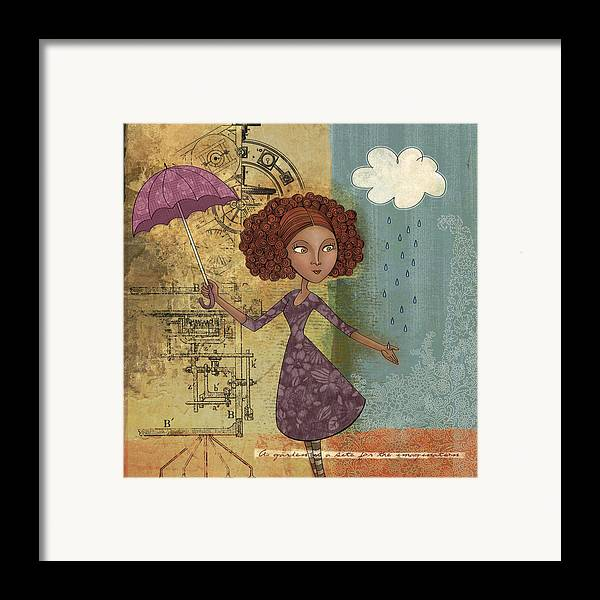 Girl Framed Print featuring the drawing Umbrella Girl by Karyn Lewis Bonfiglio