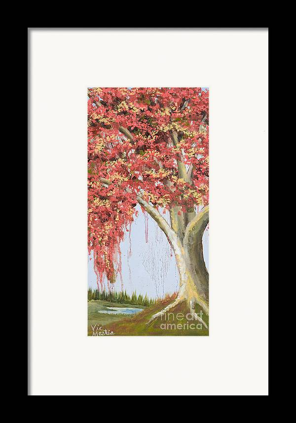 Tree Framed Print featuring the painting Under The Tree With Gold Leaf By Vic Mastis by Vic Mastis