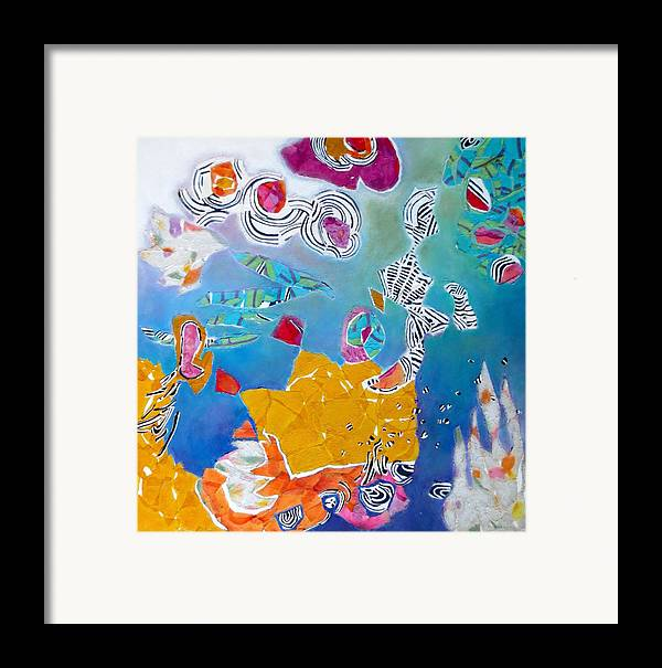 Mixed Media Collage Framed Print featuring the mixed media Underwater Flowers by Diane Fine