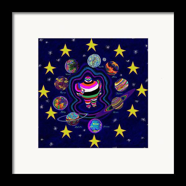 Planets Framed Print featuring the painting United Planets Of Eurotrazz by Robert SORENSEN
