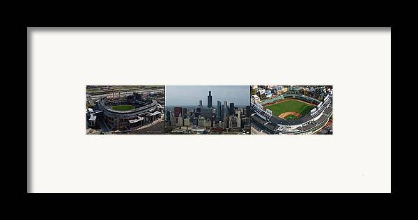 Chicago Sports Framed Print featuring the photograph Us Cellular And Wrigley Field Chicago Baseball Parks 3 Panel Composite 02 by Thomas Woolworth