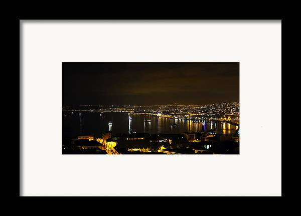 Valparaiso Framed Print featuring the photograph Valparaiso Harbor At Night by Kurt Van Wagner