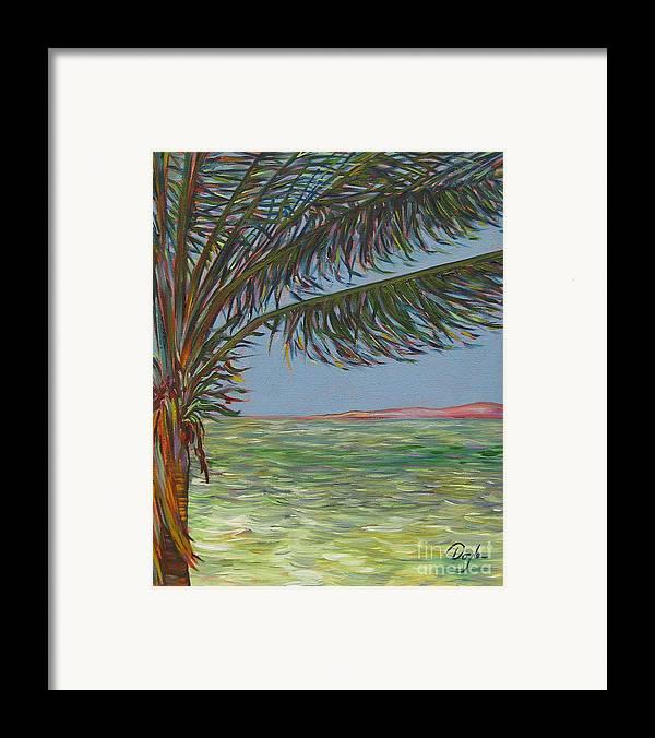 Ocean Framed Print featuring the painting Veiled Horizon by Karen Doyle