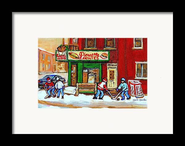 Verdun Framed Print featuring the painting Verdun Hockey Game Corner Landmark Restaurant Depanneur Pierrette Patate Winter Montreal City Scen by Carole Spandau