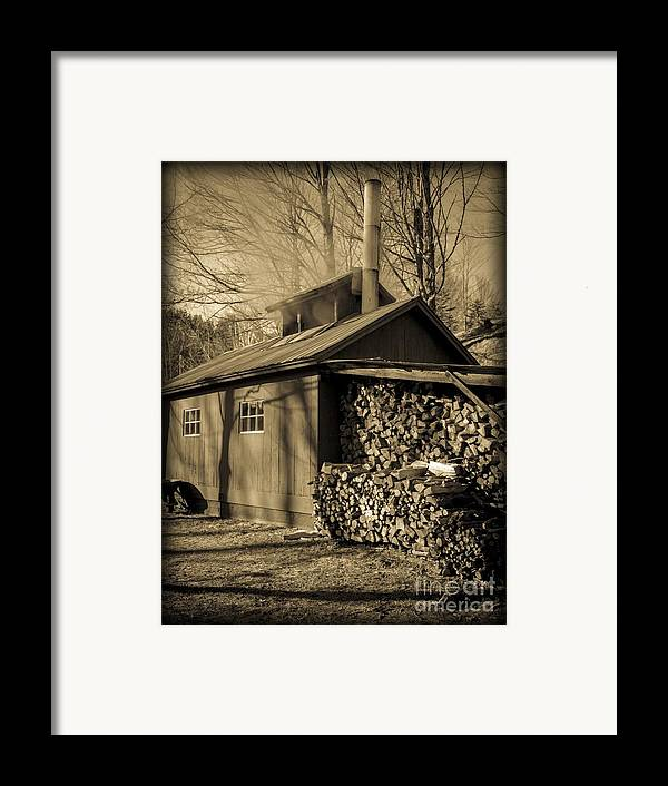 Maple Framed Print featuring the photograph Vermont Maple Sugar Shack Circa 1954 by Edward Fielding