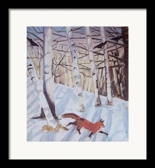 Fox Framed Print featuring the pastel Visitor by Grace Keown