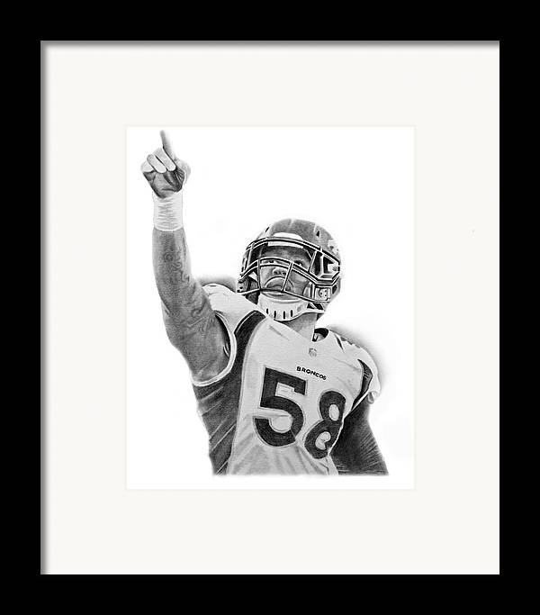 Nfl Framed Print featuring the drawing Von Miller by Don Medina
