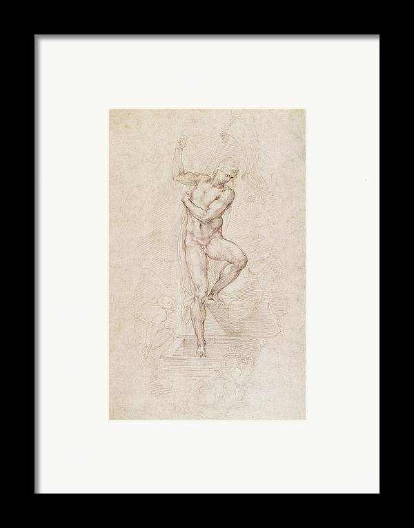 Drawing Framed Print featuring the painting W53r The Risen Christ Study For The Fresco Of The Last Judgement In The Sistine Chapel Vatican by Michelangelo Buonarroti