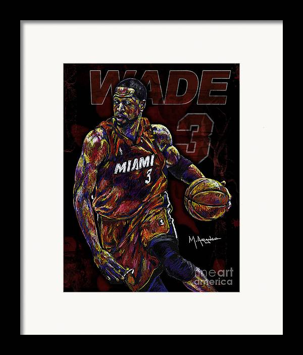 Dwyane Wade Framed Print featuring the drawing Wade by Maria Arango