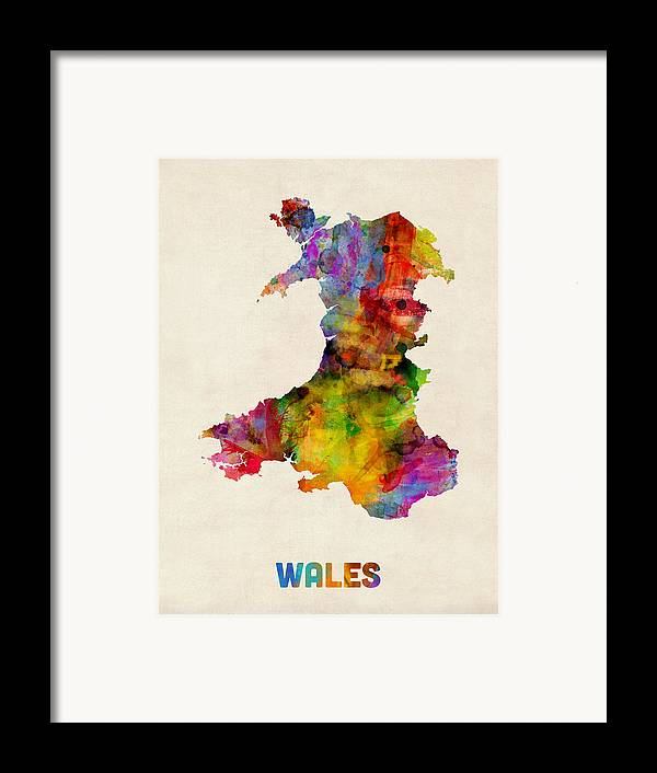 Map Art Framed Print featuring the digital art Wales Watercolor Map by Michael Tompsett