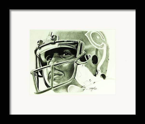 Walter Payton Framed Print featuring the drawing Walter Payton by Don Medina