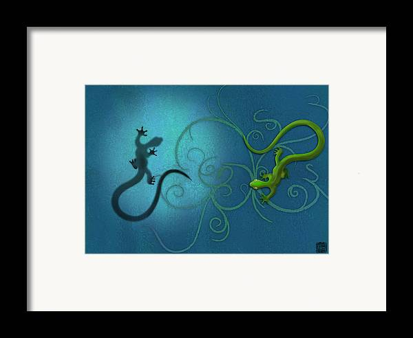 Gecko Framed Print featuring the digital art water colour print of twin geckos and swirls Duality by Sassan Filsoof