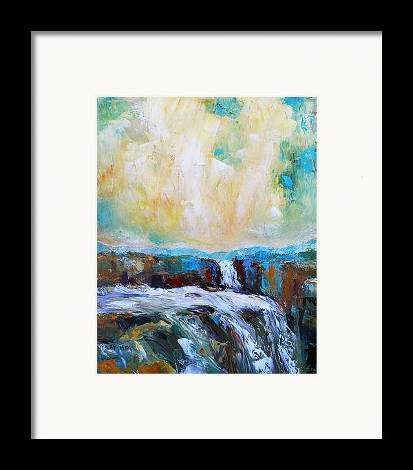 Landscape. Oil Framed Print featuring the painting Waterfalls 2 by Becky Kim