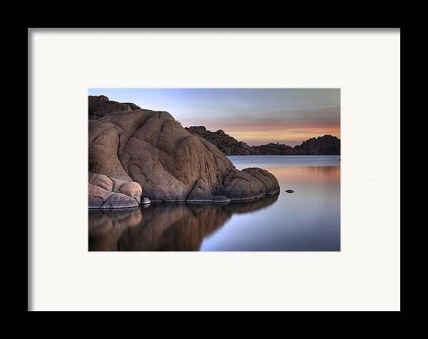 Sunrise Framed Print featuring the photograph Watson Lake Arizona Colors by Dave Dilli