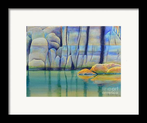 Watercolor Framed Print featuring the painting Watson Rocks by Robert Hooper