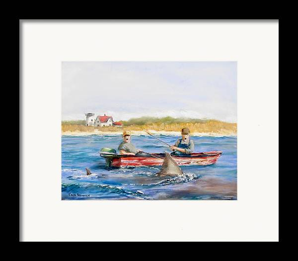 Boat Framed Print featuring the painting We Need A Biggah Boat by Jack Skinner