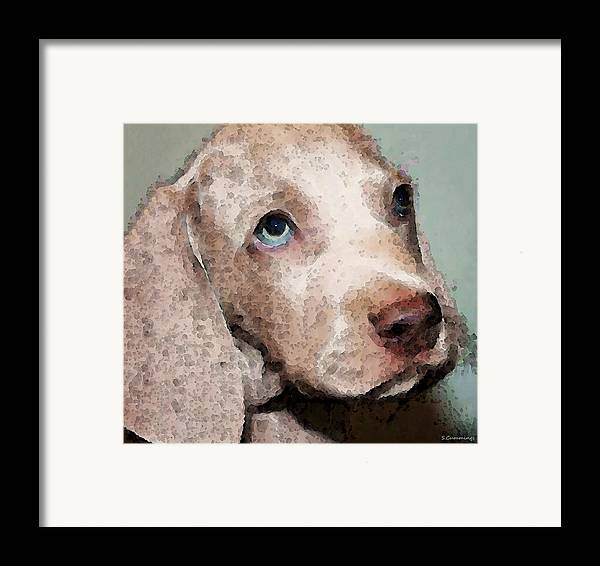 Weimaraner Framed Print featuring the painting Weimaraner Dog Art - Forgive Me by Sharon Cummings