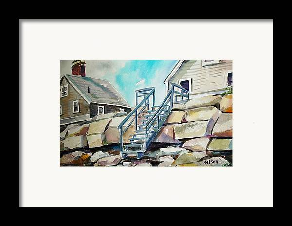 Wells Beach Framed Print featuring the painting Wells Beach Beach Stairs by Scott Nelson