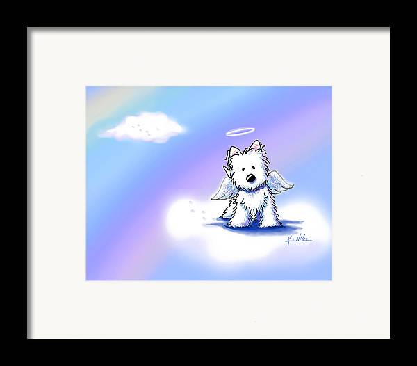 Westie Terrier Framed Print featuring the drawing Westie Angel At Rainbow Bridge by Kim Niles