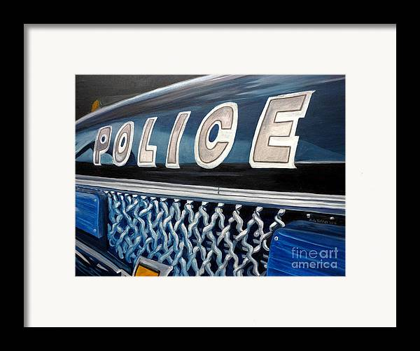 Police Framed Print featuring the painting Whatcha Gonna Do When They Come For You? by Julie Brugh Riffey