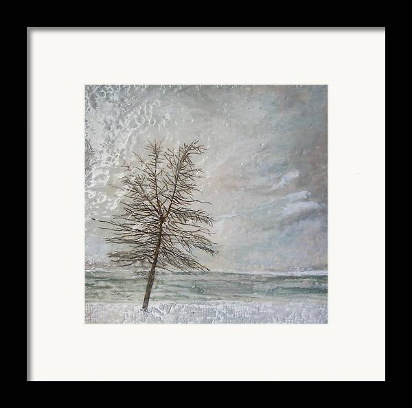Winter Tree Framed Print featuring the painting When Grey Matters by Victoria Primicias