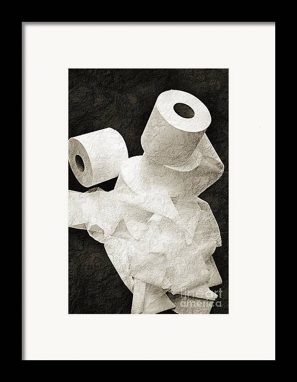 Bathroom Framed Print featuring the photograph Where Is My Spare Roll Bw V1 by Andee Design