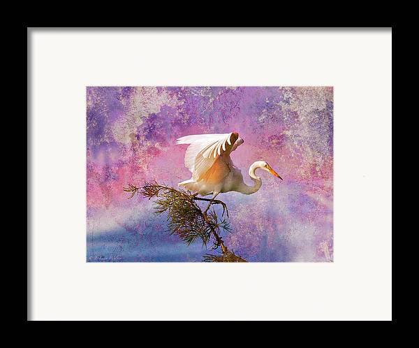 J Larry Walker Framed Print featuring the digital art White Lake Swamp Egret by J Larry Walker