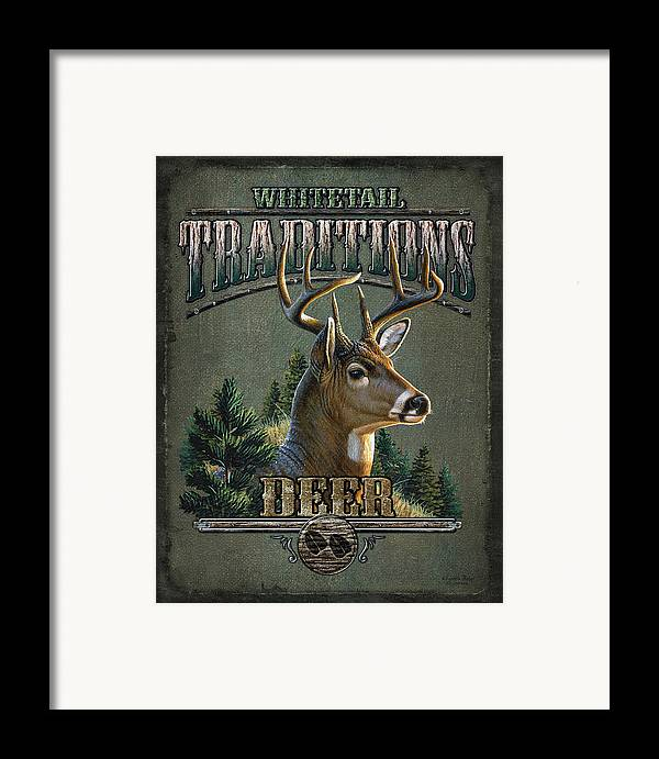 Cynthie Fisher Framed Print featuring the painting Whitetail Deer Traditions by JQ Licensing