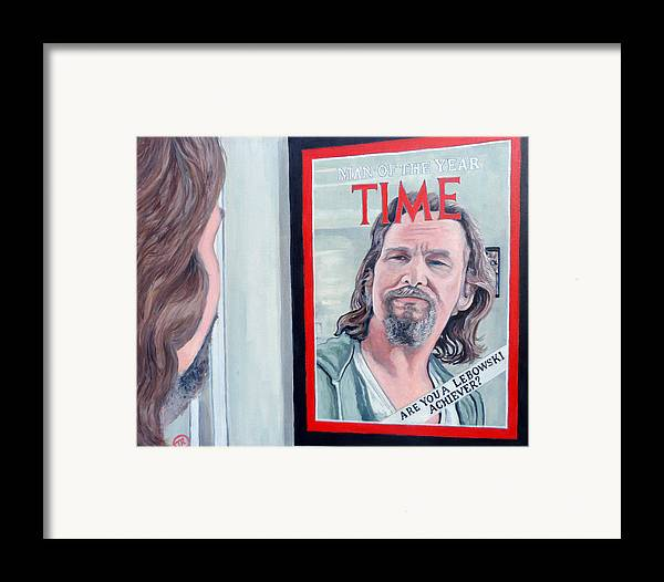 The Dude Framed Print featuring the painting Who Is This Guy by Tom Roderick