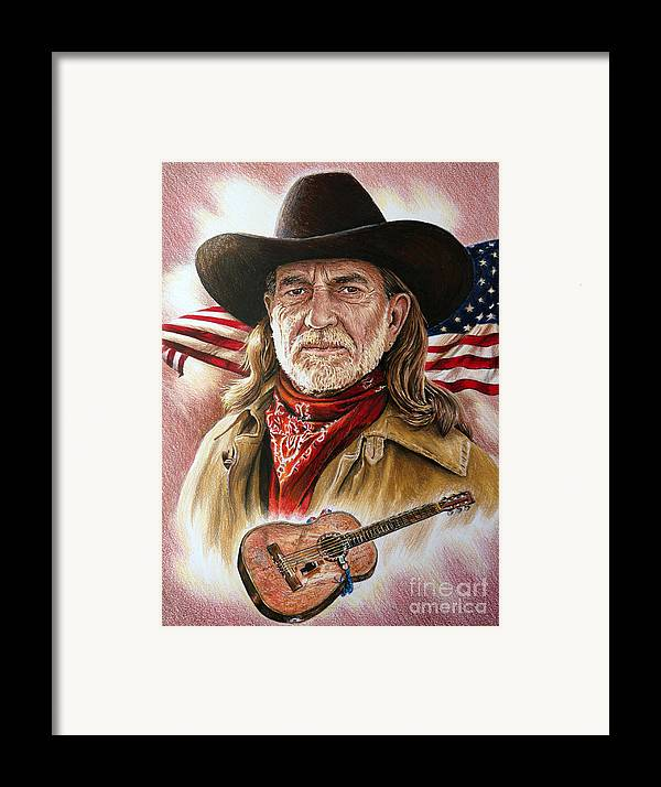 Willie Nelson Framed Print featuring the painting Willie Nelson American Legend by Andrew Read