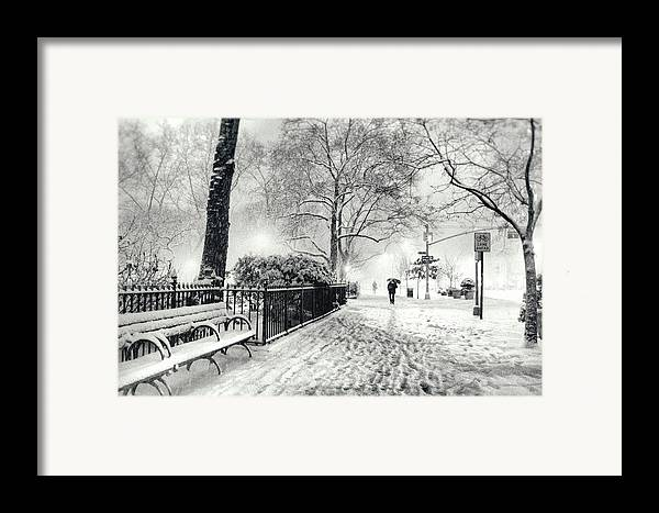 New York City Framed Print featuring the photograph Winter Night - Snow - Madison Square Park - New York City by Vivienne Gucwa