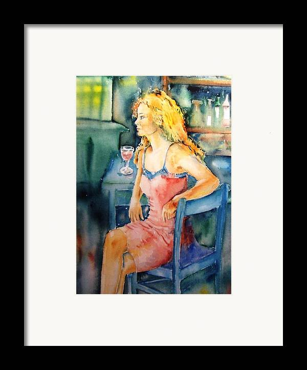 Woman Framed Print featuring the painting Woman Waiting by Trudi Doyle