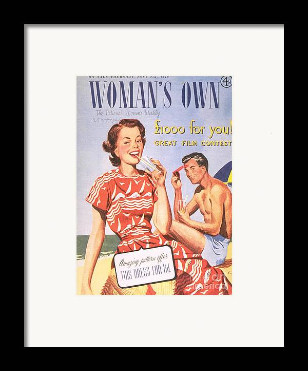 1940�s Framed Print featuring the drawing Womans Own 1949 1940s Uk Holidays by The Advertising Archives