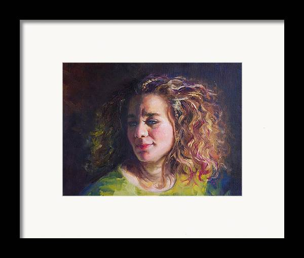 Oil Framed Print featuring the painting Work In Progress - Self Portrait by Talya Johnson